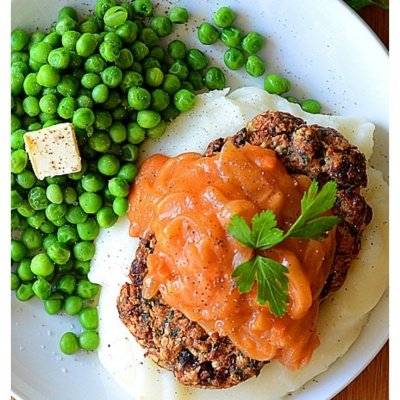 Vegan Salisbury Steak with Tomato Gravy