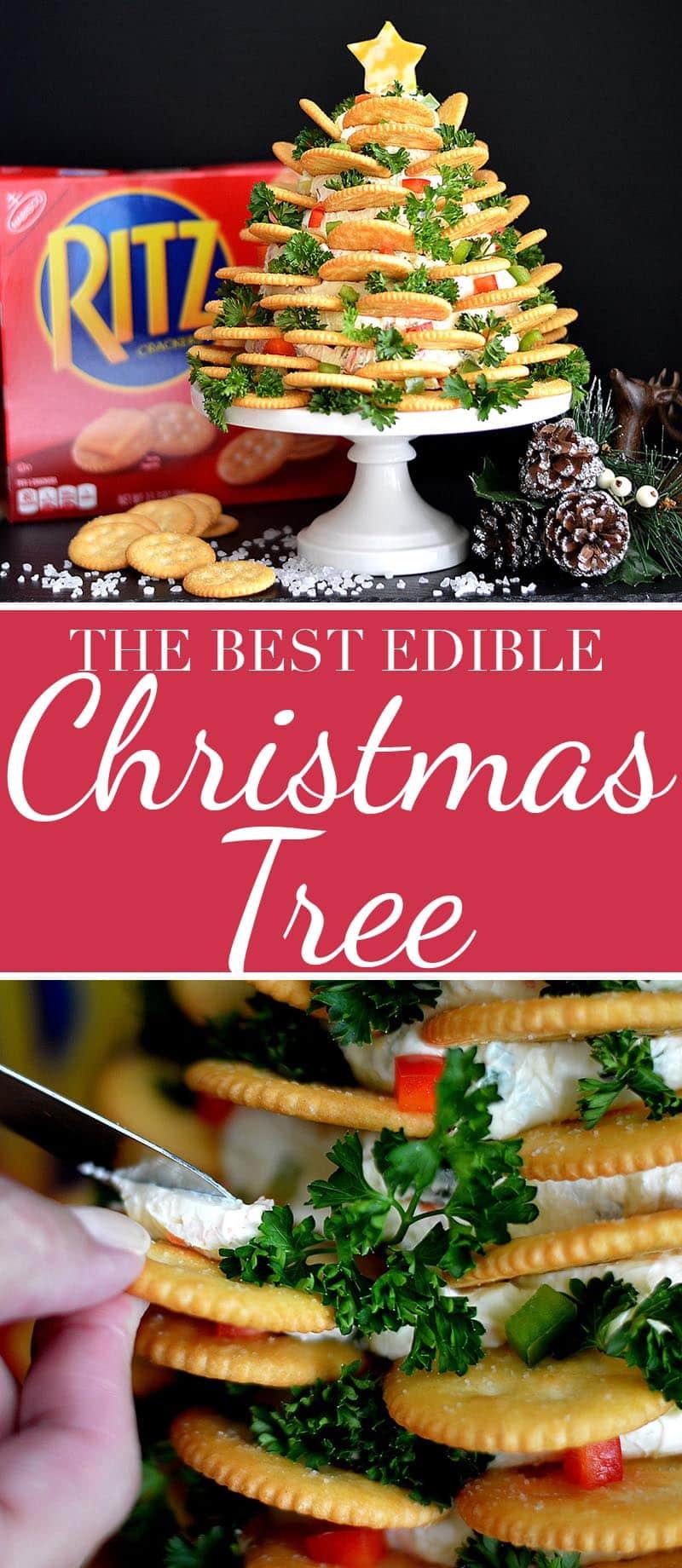 Holiday RITZ Crackers Veggie Cream Cheese Appetizer Tree!