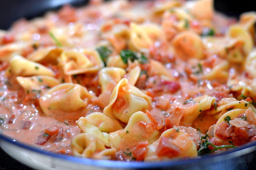 Tortellini with Tomato Cream Sauce