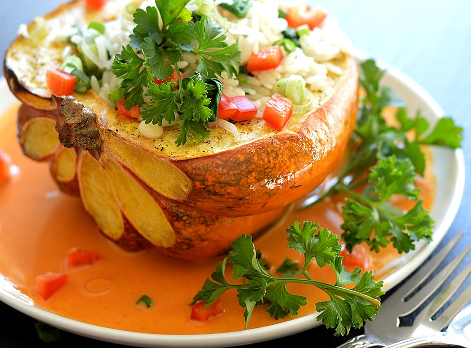 Stuffed Squash with Red Curry Sauce