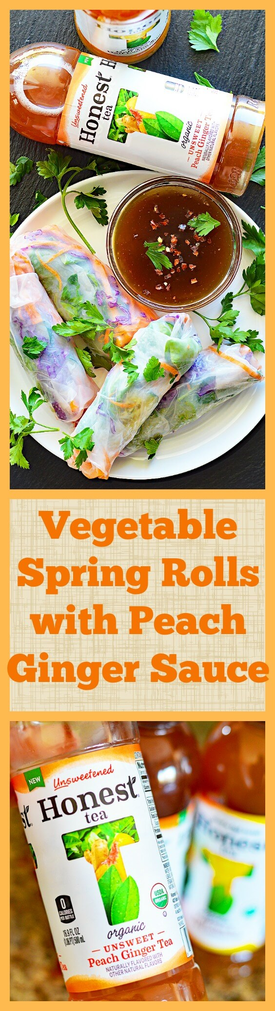 Long PINTEREST Vegetable Spring Rolls with Peach Ginger Dipping Sauce