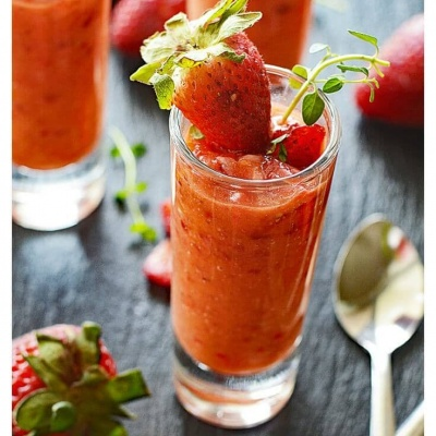 Vegan Tomato Strawberry Gazpacho