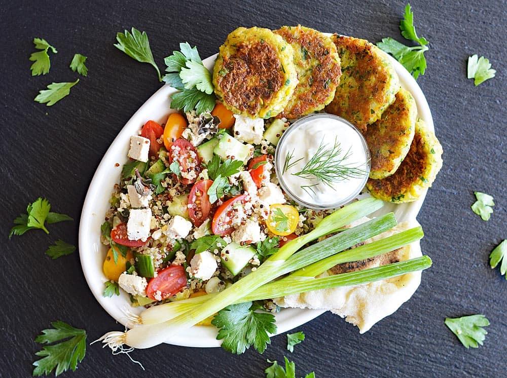 Vegan Quinoa Tabbouleh with Tofu Feta