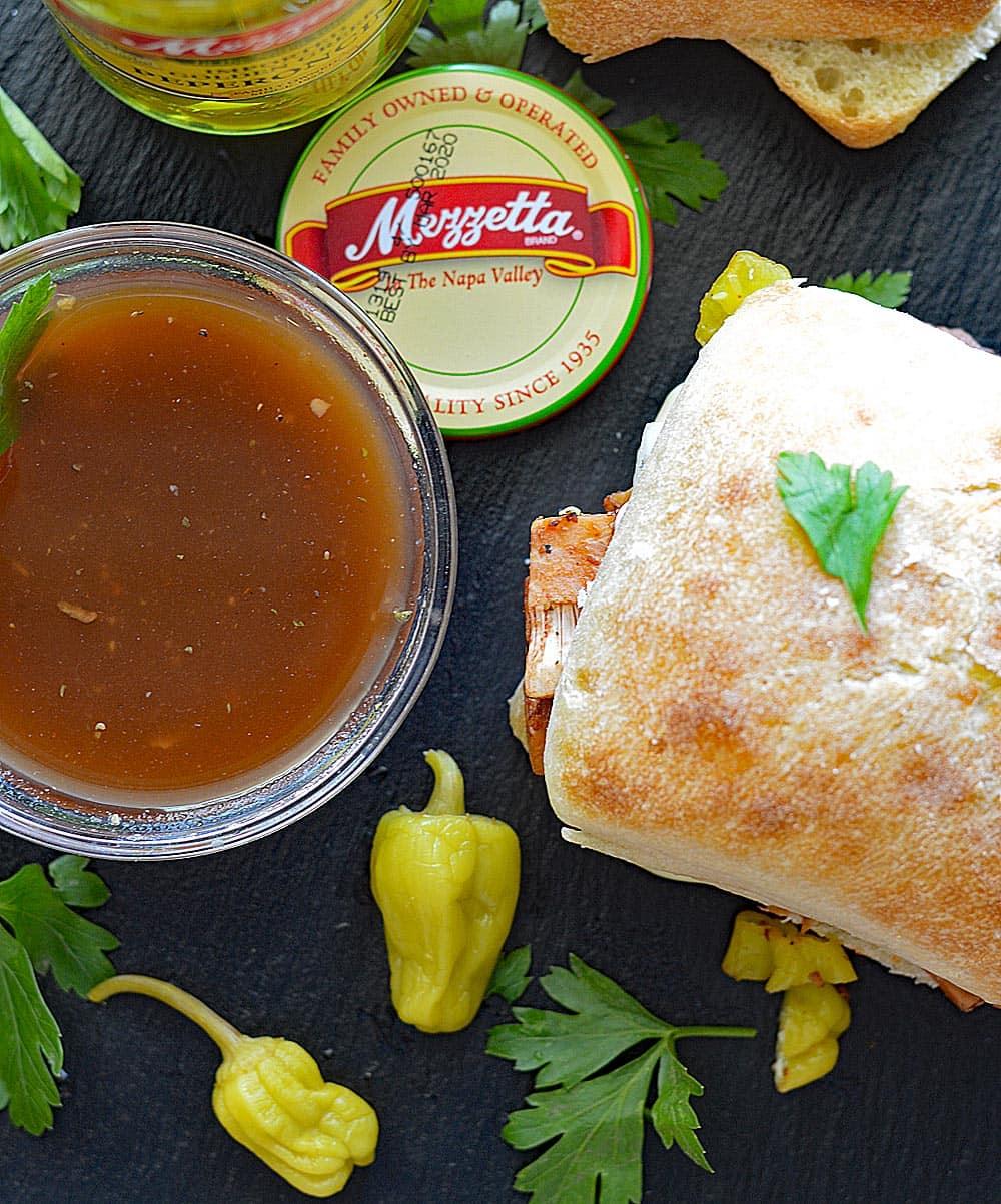 Peperoncini Jackfruit Sandwiches with Mushroom Au Jus