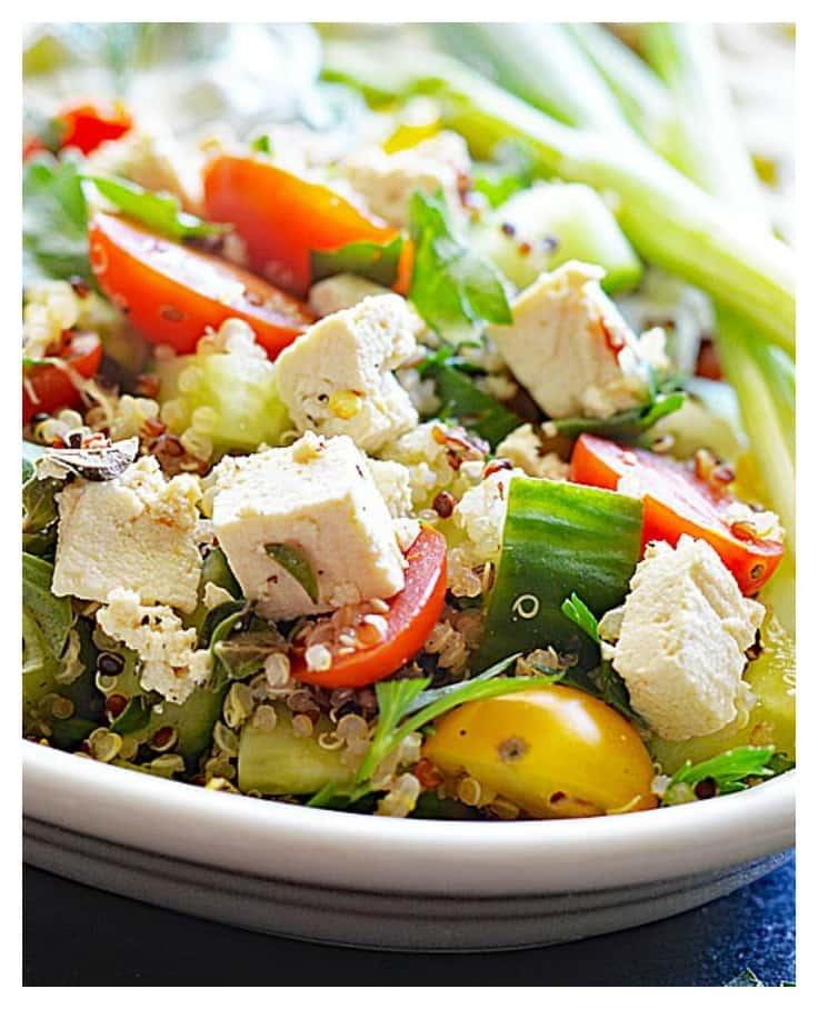 Vegan Quinoa Tabbouleh With Tofu Feta Theveglife