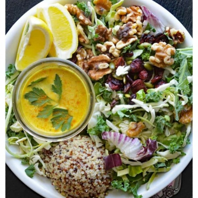 Kale & Quinoa Salad with Lemon Turmeric Tahini Dressing