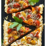 Vegan Tomato & Caramelized Onion Puff Pastry Tart