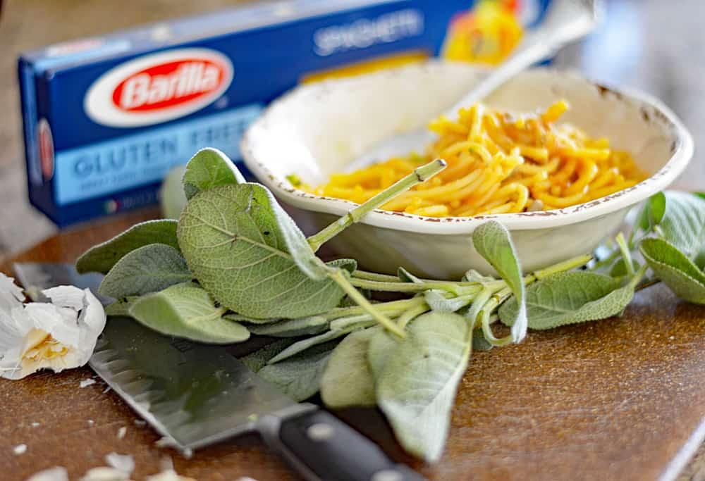 Creamy Vegan Gluten Free Pumpkin Pasta with Sage