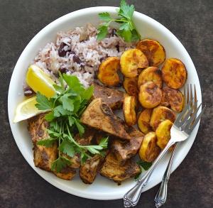 Jamaican Jerk Jackfruit with Beans and Rice