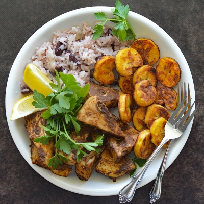 Jamaican Jerk Jackfruit with Beans and Rice