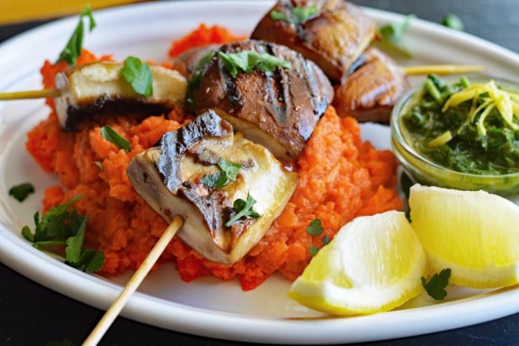 Grilled Portobello Kabobs with a Chimichurri Sauce