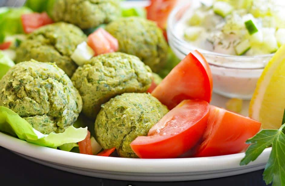 Baked Falafel with Silk-y Smooth Vegan Tzatziki