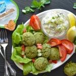 Baked Falafel with Silk-y Smooth Vegan Tzatziki Overhead