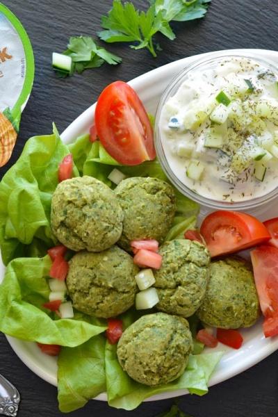 Baked Falafel with Silk-y Smooth Vegan Tzatziki