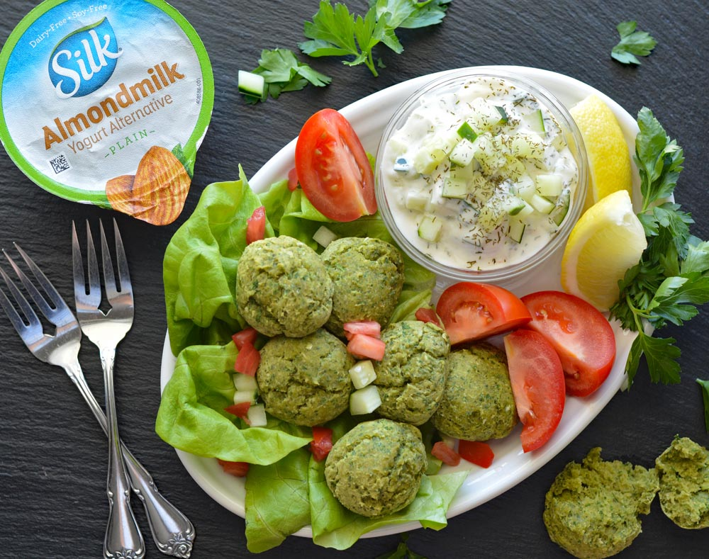 Baked Falafel with Silk-y Smooth Vegan Tzatziki Overhead