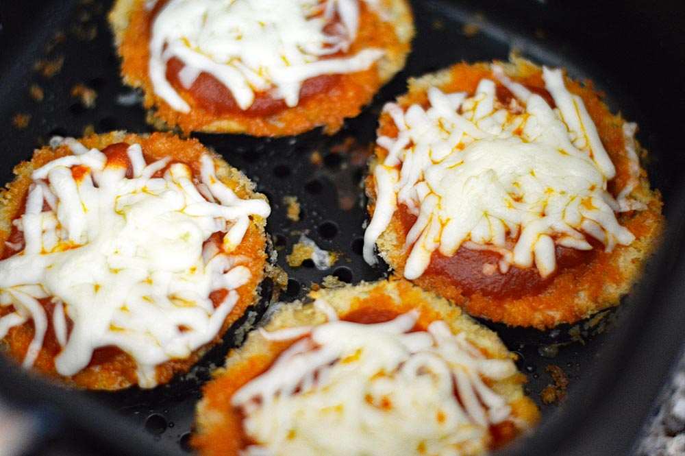 Melted Cheese on Vegan Air Fryer Eggplant Parmesan Recipe