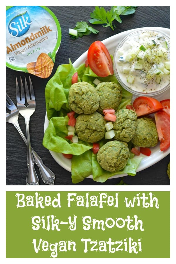 Baked Falafel with Silk-y Smooth Vegan Tzatziki PInterest Pic