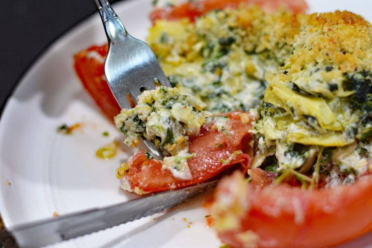 Spinach Artichoke Stuffed Tomatoes Recipe