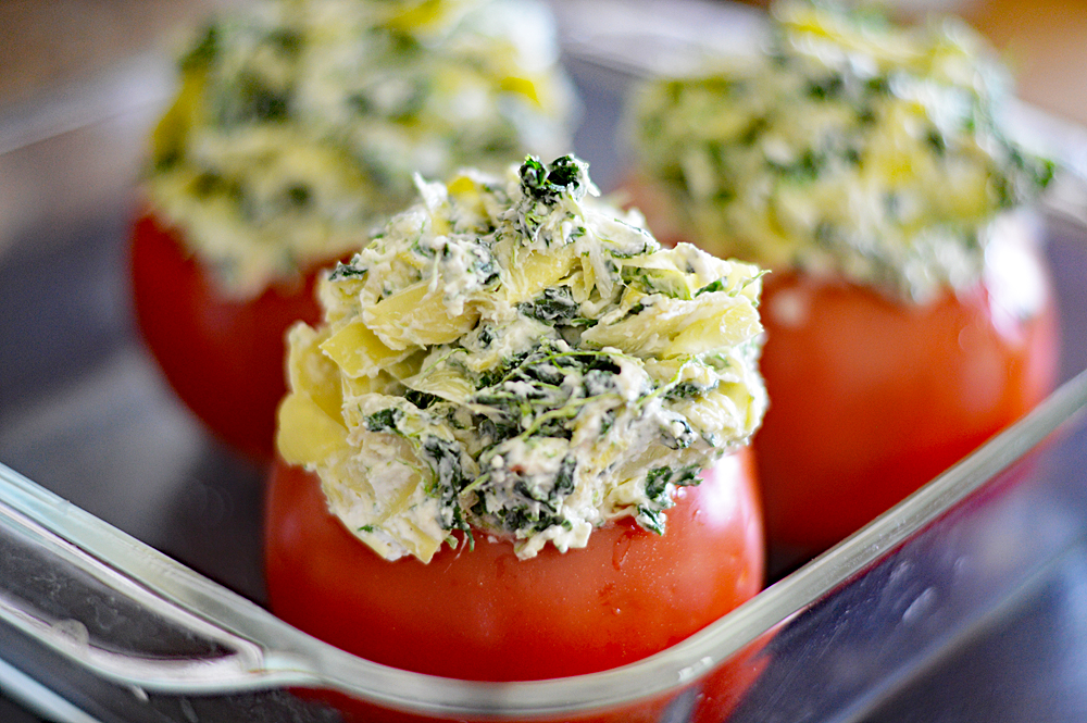 Spinach Artichoke Stuffed Tomatoes Recipe