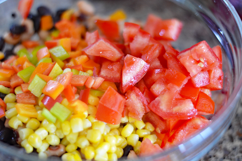 "Bowl of ingredients for Cowboy Caviar a/k/a ""Texas Caviar"""