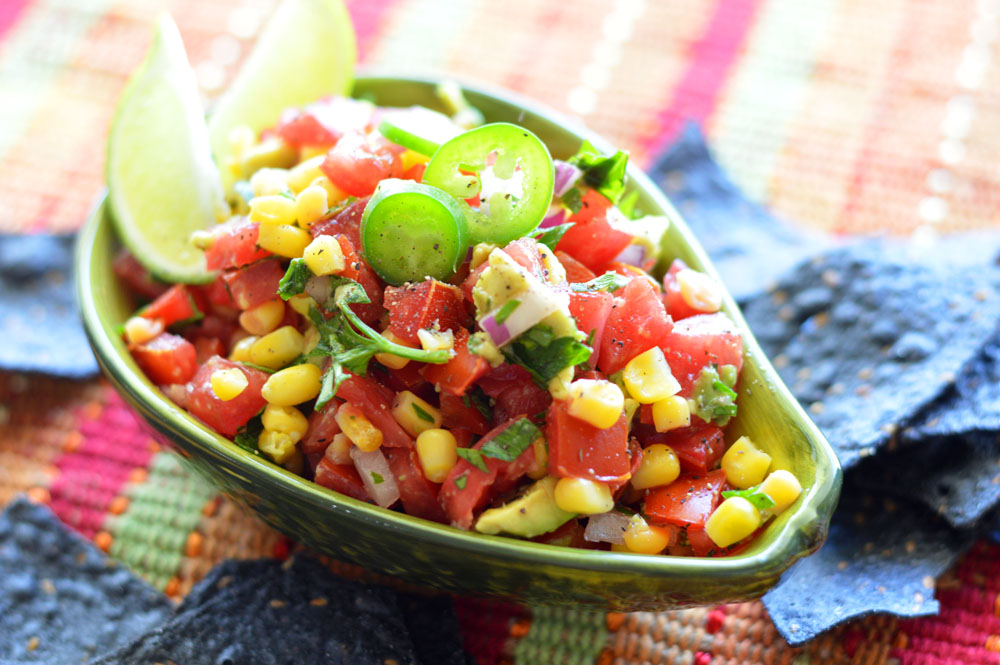 Avocado Bowl full of Tomato Corn Salsa Recipe with Avocado
