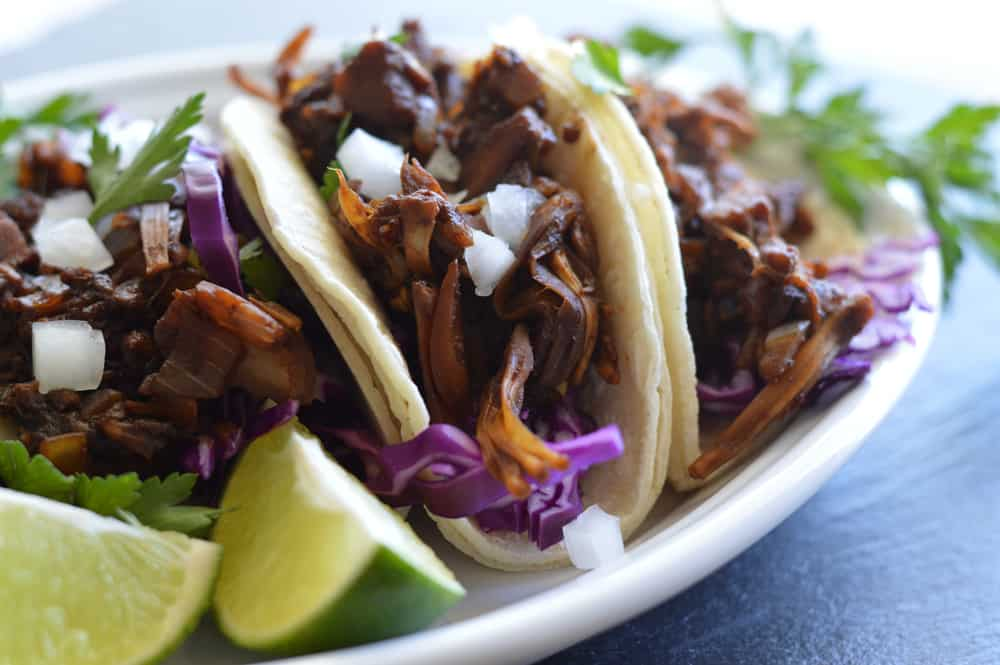 Finished shot of Vegan Barbacoa Jackfruit Street Tacos Recipe