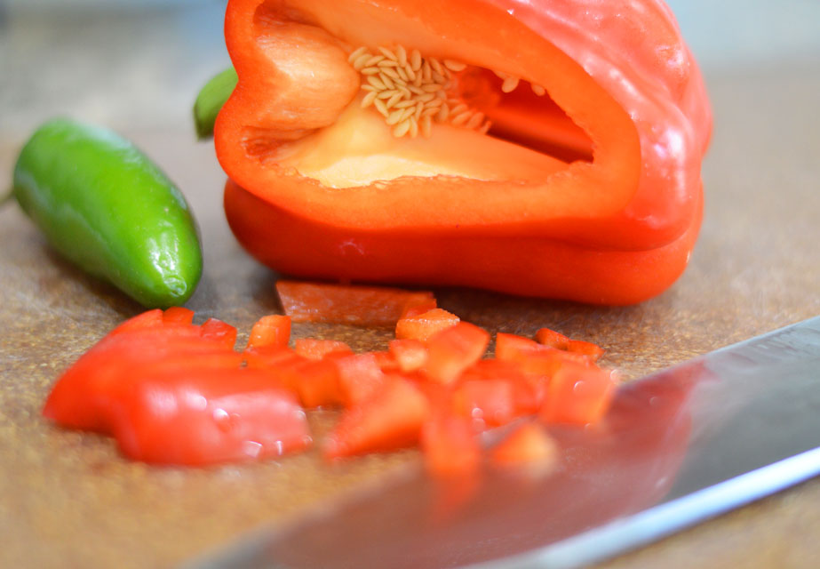 Dicing red bell peppers