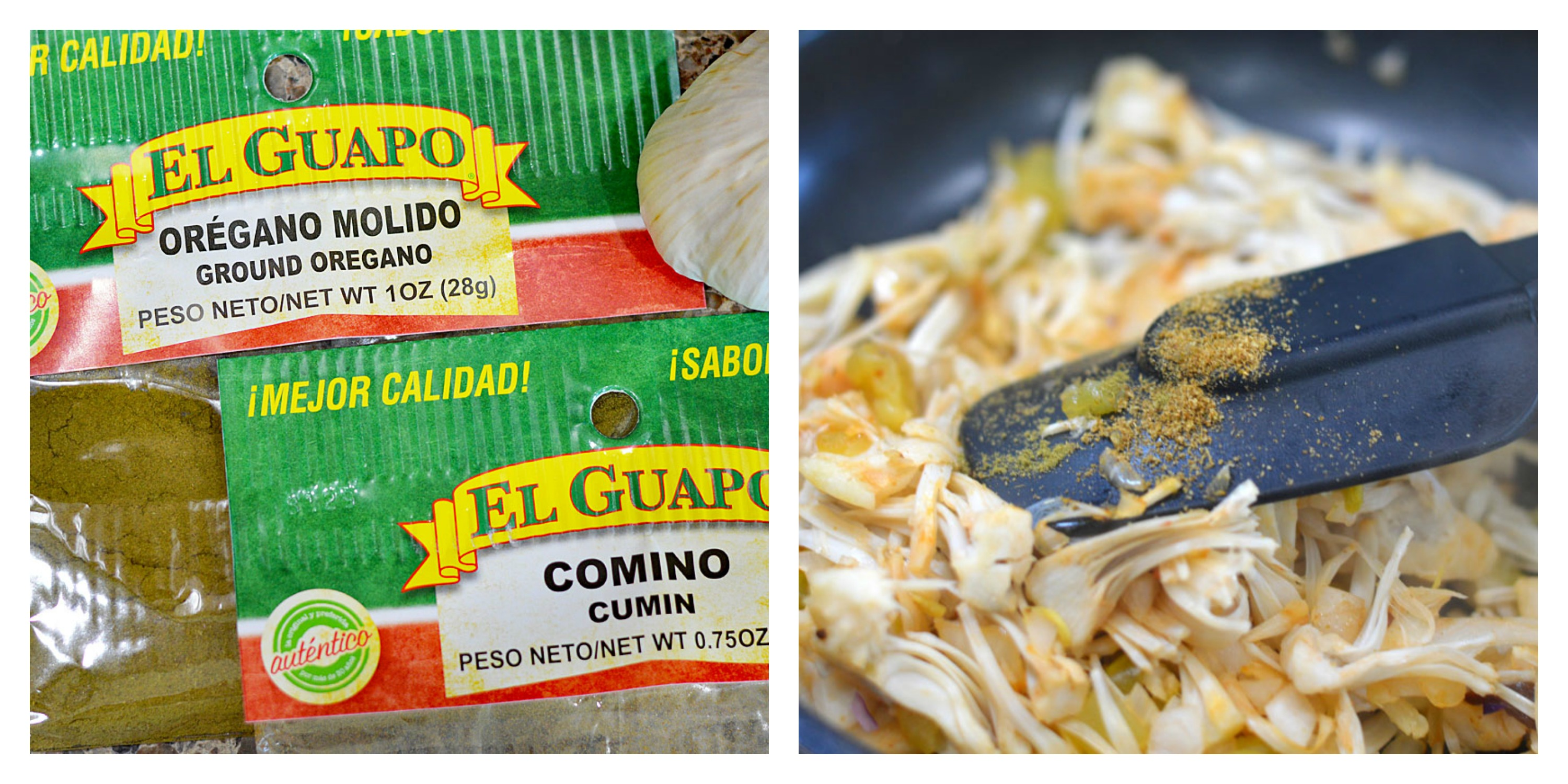 Collage of Mexican Spices and adding it to the pan of jackfruit