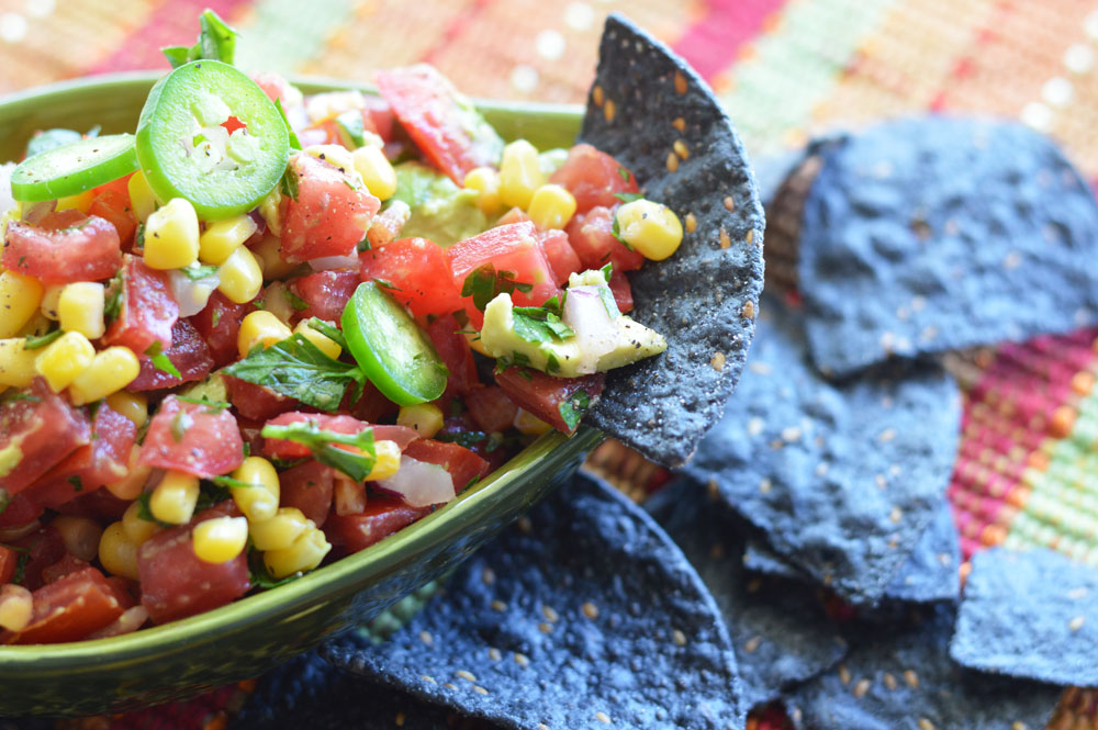 Close up of Tomato Corn Salsa Recipe with Avocado