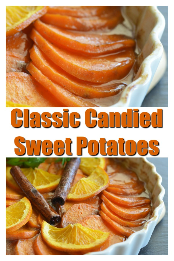 Pinterest Pin for Classic Candied Sweet Potatoes Recipe
