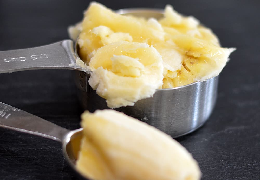 Adding mashed bananas