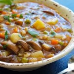 Close up of Vegan Mushroom Barley Soup