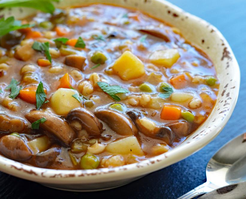Close up of Vegan Mushroom Barley Soup