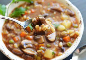 Spoonful of Vegan Mushroom Barley Soup