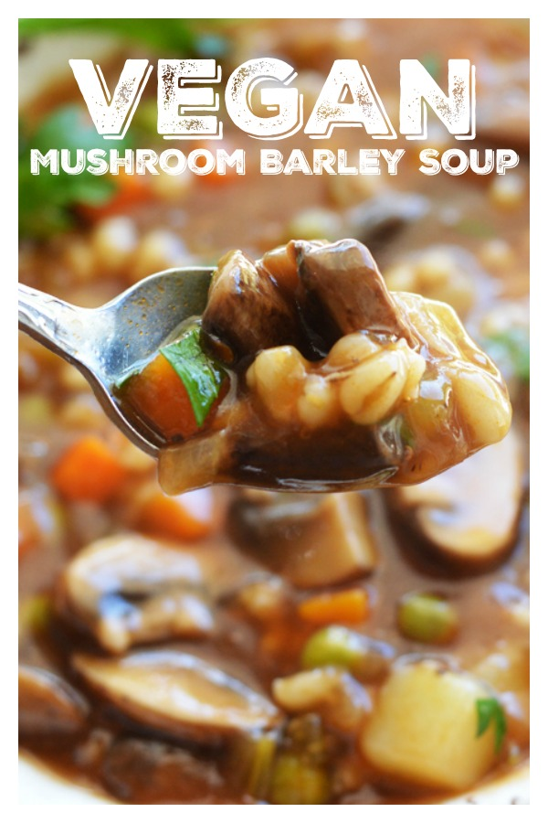 Pinterest Image for Vegan Mushroom Barley Soup
