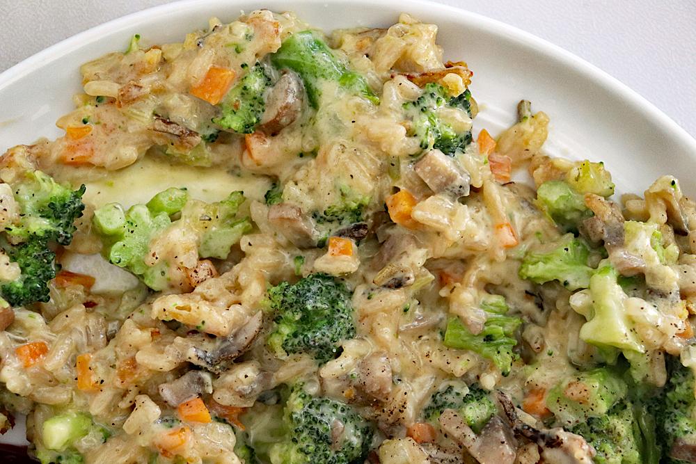 Plate of Creamy Vegan Broccoli Wild Rice Casserole