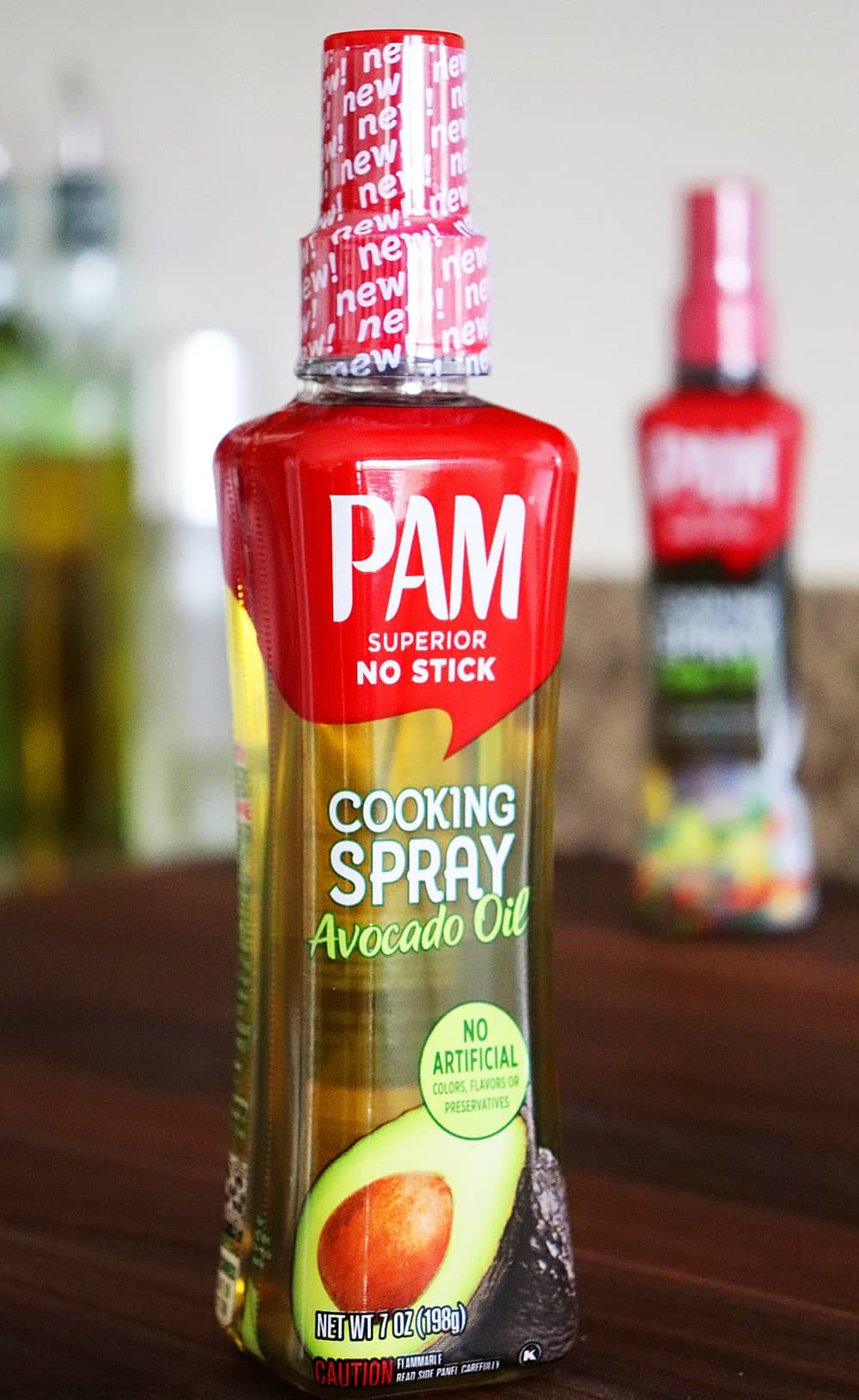 Close up shot of PAM Avocado Oil Cooking Spray bottle