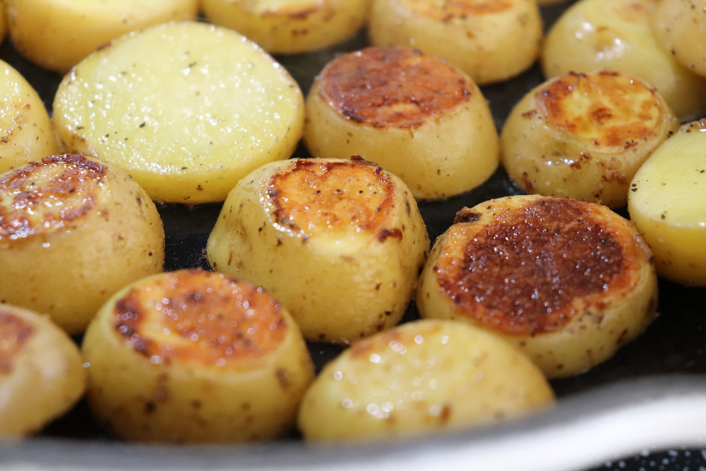 Browned Potatoes in skillet