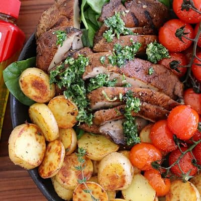 "Portobello ""Steak"" Gremolata with Melting Potatoes"