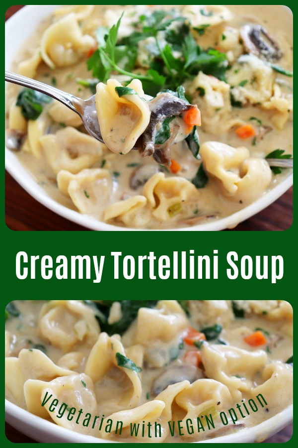 Pinterest picture for Creamy Tortellini Soup [VIDEO]