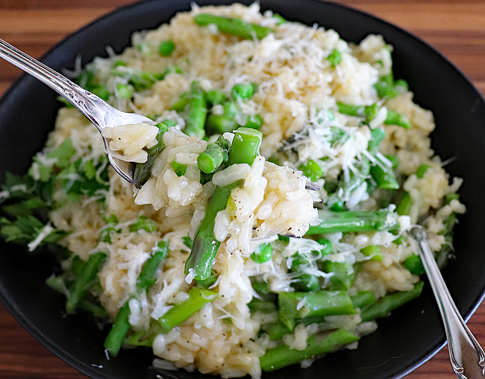 Bite Shot of Spring Pea and Asparagus Risotto