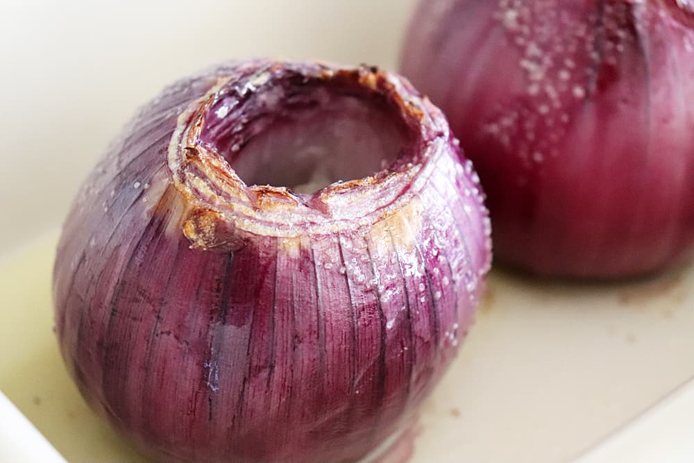Roasted red onions for Emeril's Creamy Roasted Red Onions