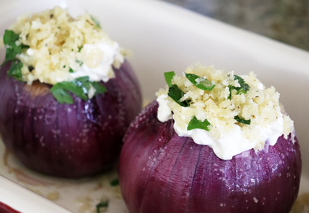 Stuffed red onions ready for baking for Emeril's Creamy Roasted Red Onions