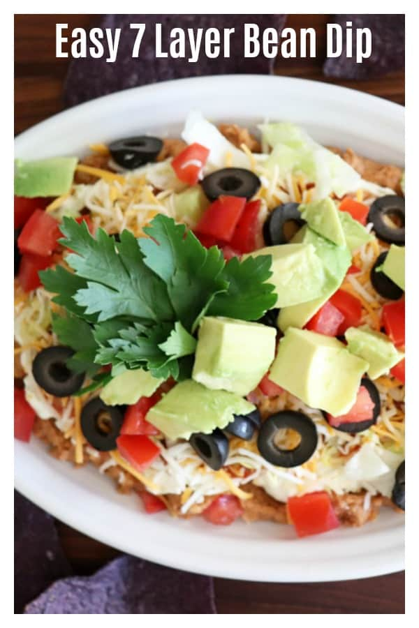 Pinterest image for Easy Seven Layer Bean Dip