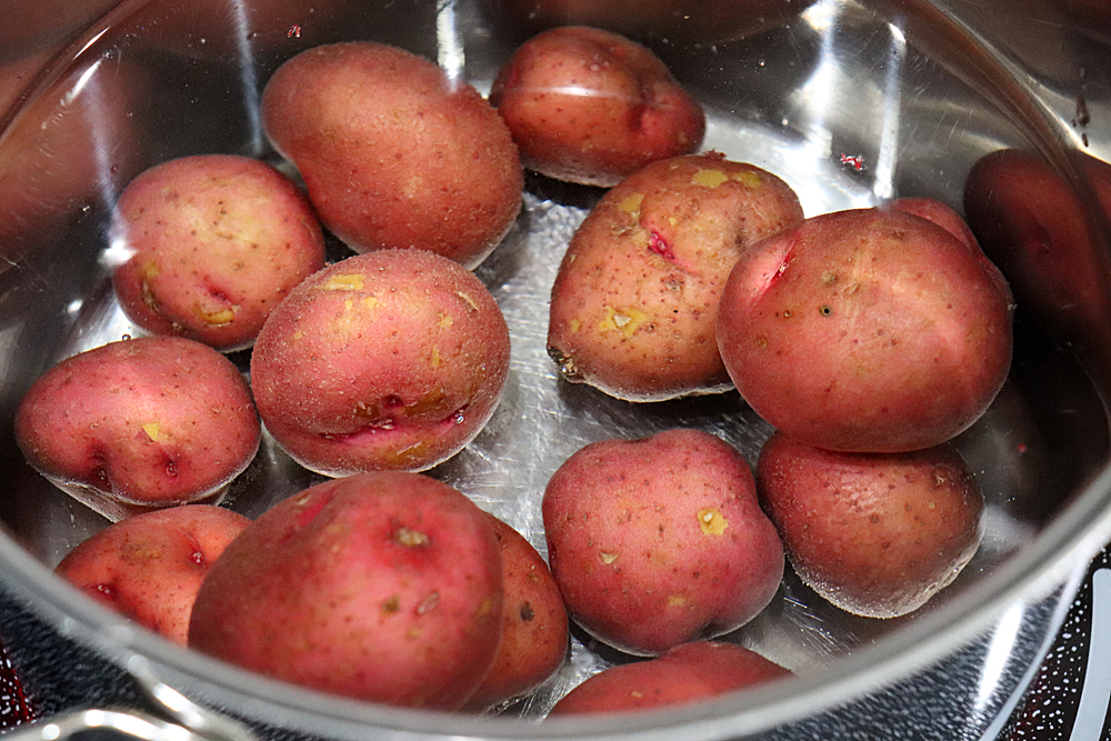 Boiling red potatoes in a large pot of boiling water