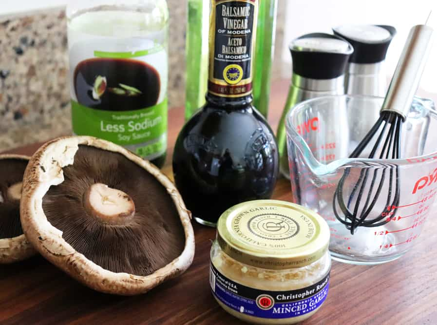 Group of ingredients for Balsamic Marinated Grilled Portobello Mushrooms