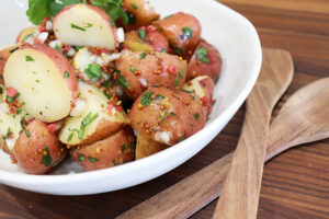 Close up shot of Vegan German Potato Salad Recipe