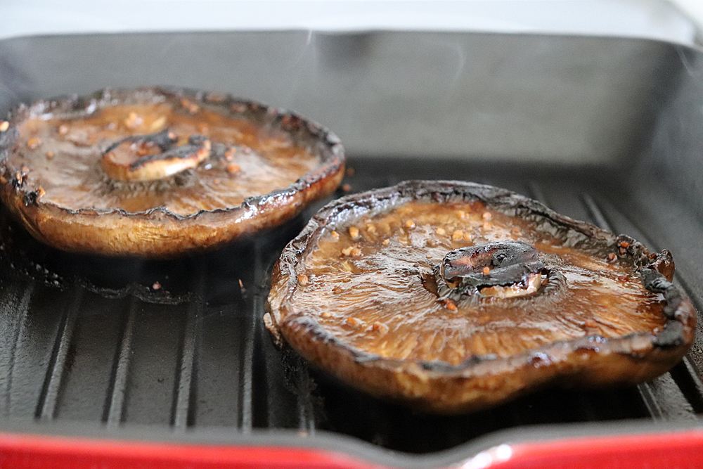 Finished grilled portobellos on grill pan