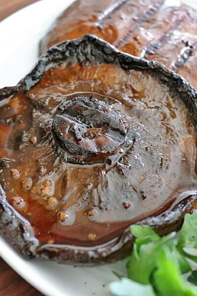 close up of Balsamic Marinated Grilled Portobello Mushrooms