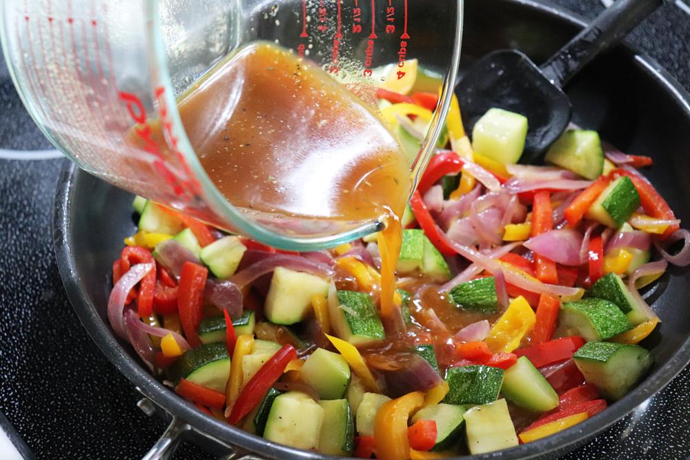 Adding gravy to vegetables